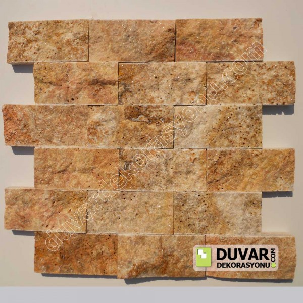 Yellow Travertine 5x10 cm Split Face Natural Stone Mosaıcs